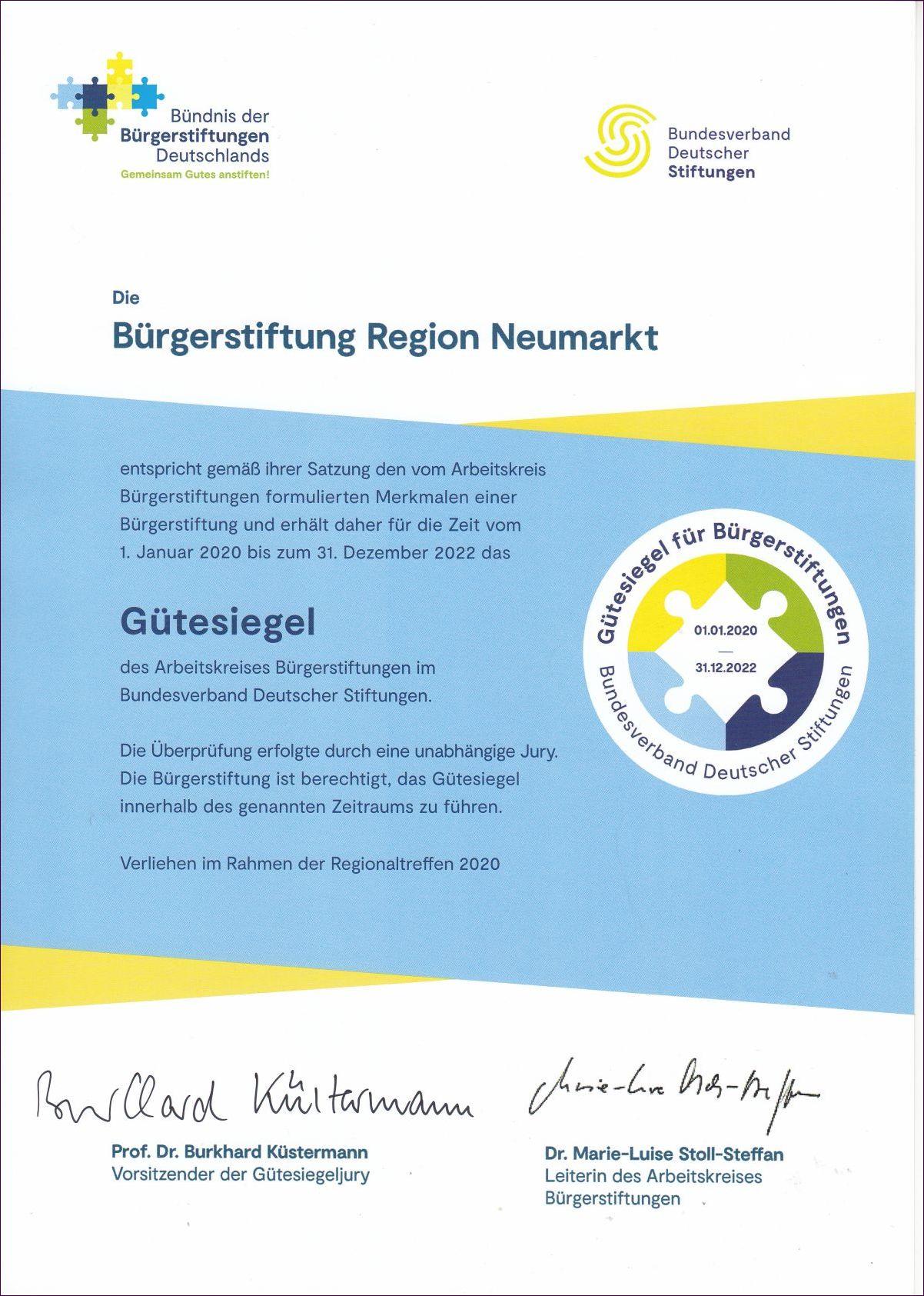 2020-2022 Gütesiegel des Bundesverbands Deutscher Stiftungen